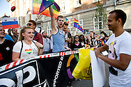 20.09.2013. Copenhagen, Denmark.10.000 people marched to the Russian Embassy in Copenhagen in protest against the Russian gay law. One of the founders of the association Fahad Saeed delivered thousands of signatures in the mailbox of the embassy of Russian.Photo: © Ricardo Ramirez