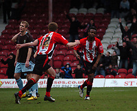 Photo: Tony Oudot/Richard Lane Photography. Brentford v Bury . Coca-Cola Football League Two. 28/02/2009. <br /> Marcus Bean of Brentford celebrates his goal with Jordan Rhodes after scoring the first goal