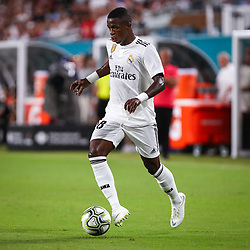 July 31, 2018 - Miami Gardens, Florida, USA - Real Madrid C.F. forward Vinicius Junior (28) moves the ball during an International Champions Cup match between Real Madrid C.F. and Manchester United F.C. at the Hard Rock Stadium in Miami Gardens, Florida. Manchester United F.C. won the game 2-1. (Credit Image: © Mario Houben via ZUMA Wire)