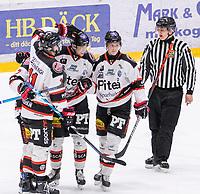2020-01-11 | Umeå, Sweden: Piteå (79) Erik Wikgren score 2-1 in AllEttan during the game  between Teg and Piteå at A3 Arena ( Photo by: Michael Lundström | Swe Press Photo )<br /> <br /> Keywords: Umeå, Hockey, AllEttan, A3 Arena, Teg, Piteå, mltp200111, happy happiness celebration celebrates