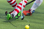 Tilburg - Tilburg - HDM Heren, Hoofdklasse Hockey Heren, Seizoen 2017-2018, 08-04-2018, Tilburg - HDM 5-1,  closeup benen, sticks en bal. details.<br /> <br /> (c) Willem Vernes Fotografie