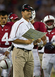 September 19, 2009; Stanford, CA, USA;  Stanford Cardinal head coach Jim Harbaugh during the second quarter at Stanford Stadium. Stanford defeated San Jose State Spartans 42-17.