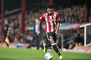 Brentford (3) Rico Henry  during the EFL Sky Bet Championship match between Brentford and Derby County at Griffin Park, London, England on 26 September 2017. Photo by Sebastian Frej.