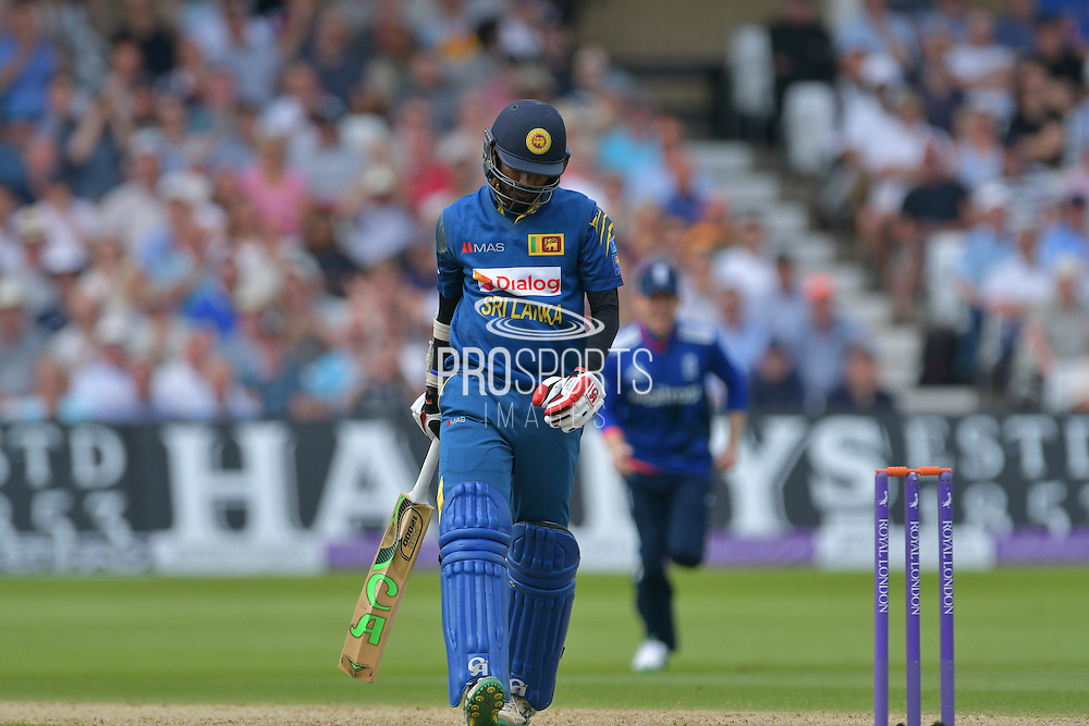Upul Tharanga of Sri Lanka goes caught by Jos Buttler of England (not shown) off Liam Plunkett of England (not shown) during the Royal London ODI match between England and Sri Lanka at Trent Bridge, West Bridgford, United Kingdom on 21 June 2016. Photo by Simon Trafford.