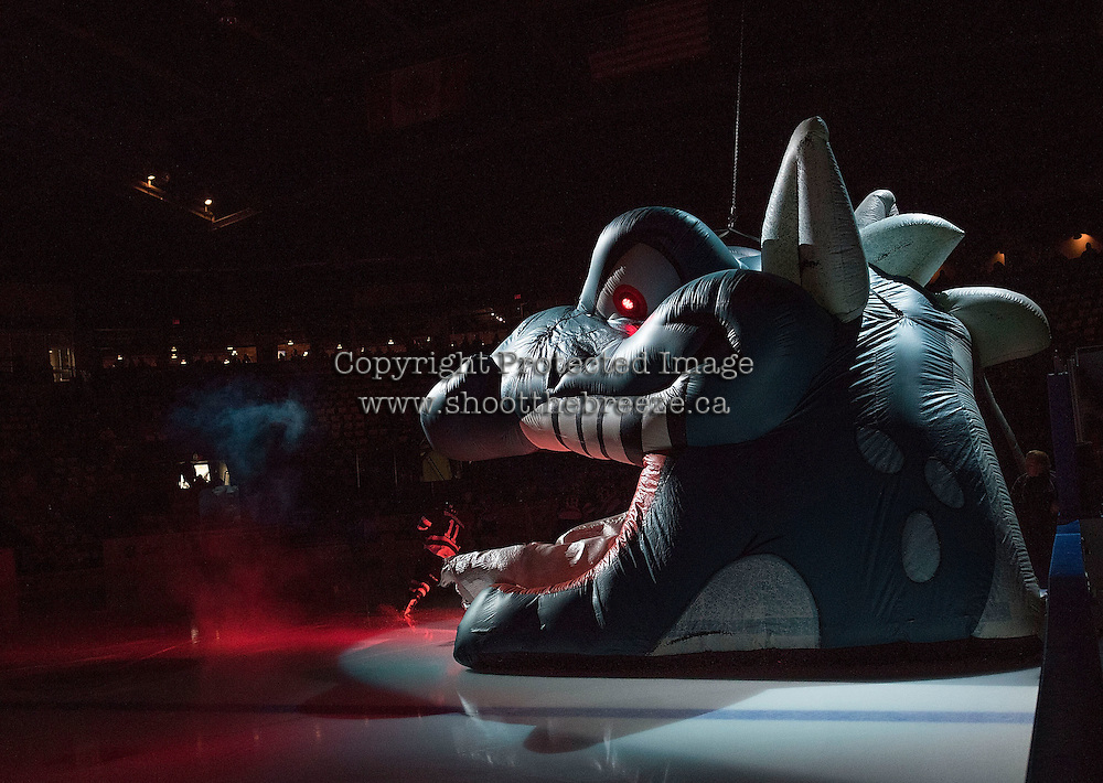 KELOWNA, CANADA - NOVEMBER 20: The Kelowna Rockets enter the ice through inflatable Ogi against the Edmonton Oil Kings on November 20, 2015 at Prospera Place in Kelowna, British Columbia, Canada.  (Photo by Marissa Baecker/ShoottheBreeze)  *** Local Caption ***