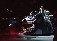 KELOWNA, CANADA - NOVEMBER 20: The Kelowna Rockets enter the ice through inflatable Ogi against the Edmonton Oil Kings on November 20, 2015 at Prospera Place in Kelowna, British Columbia, Canada.  (Photo by Marissa Baecker/ShoottheBreeze)  *** Local Caption ***