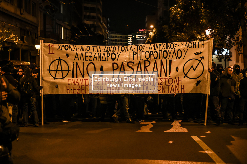 Protesters gather during a demonstration,  in Athens, Greece on Friday, December. 6, 2019 commemorating the killing of 15-year-old student Alexandros Grigoropoulos by a police officer in 2008. Authorities are closing off main roads and have tightened security in the Greek capital.<br /> <br /> Pictured: <br /> Dimitris Lampropoulos  | EEm date