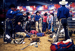Cowboys gathering equipment for an event at the Houston Livestock Show and Rodeo
