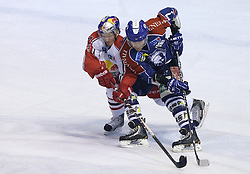 24.02.2013, Dom Sportova, Zagreb, CRO, EBEL, KHL Medvescak Zagreb vs EC Red Bull Salzburg, Playoff best of seven, 1. Runde, im Bild Johannes Bischofberger, Adam Naglich // during the Erste Bank Icehockey League playoff best of seven 1st round match between KHL Medvescak Zagreb and EC Red Bull Salzburg at the Dom Sportova, Zagreb, Croatia on 2013/02/24. EXPA Pictures © 2013, PhotoCredit: EXPA/ Pixsell/ Marko Lukunic..***** ATTENTION - for AUT, SLO, SUI, ITA, FRA only *****