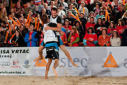 Jan and Danijel Pokersnik celebrate winning national championship at Zavarovalnica Triglav Beach Volley Open as tournament for Slovenian national championship on July 30, 2011, in Kranj, Slovenia. (Photo by Matic Klansek Velej / Sportida)