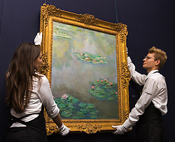 """Sotheby's, Mayfair, London, October 9th 2015. Ahead of its auction in New York, Sotheby's displays Claude Monet's iconic impressionist lily pond painting """"Nympheas"""", painted in the artist's garden at Giverny in 1908. The painting is expected to fetch between $30 and 50 million when it goes under the hammer later this year in New York. PICTURED:  // Contact: paul@pauldaveycreative.co.uk Mobile 07966 016 296"""