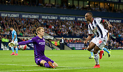 WEST BROMWICH, ENGLAND - Monday, August 10, 2015: West Bromwich Albion's Saido Berahino sees his 'goal' past Manchester City's goalkeeper Joe Hart disallowed for offside during the Premier League match at the Hawthorns. (Pic by David Rawcliffe/Propaganda)