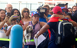 Families of Caribbean hurricane evacuees who arrived on board the Royal Caribbean Adventure of the Seas, rush to greet their relatives, Tuesday, Oct. 3, 2017, at Port Everglades in Fort Lauderdale. More than 3,000 people from Puerto Rico and the U.S. Virgin Islands were brought to Florida on board the Royal Caribbean Adventure of the Seas, Tuesday, Oct. 3, 2017, at Port Everglades in Fort Lauderdale. Photo by Joe Cavaretta/Sun Sentinel/TNS/ABACAPRESS.COM