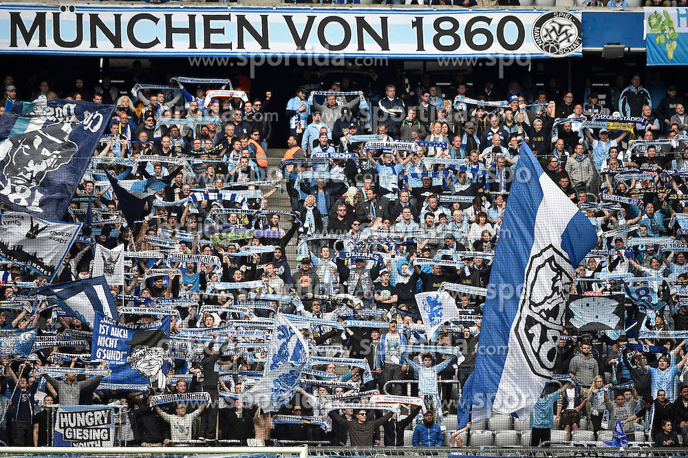 18.04.2015, Allianz Arena, M&uuml;nchen, GER, 2. FBL, TSV 1860 M&uuml;nchen vs VfL Bochum, 29. Runde, im Bild Fans des TSV 1860 Muenchen, jubeln, // during the 2nd German Bundesliga 29th round match between TSV 1860 M&uuml;nchen vs VfL Bochum at the Allianz Arena in M&uuml;nchen, Germany on 2015/04/18. EXPA Pictures &copy; 2015, PhotoCredit: EXPA/ Eibner-Pressefoto/ Buthmann<br /> <br /> *****ATTENTION - OUT of GER*****