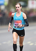 Molly Huddle (USA) places 12th in 2:26:33 in the women's race at the 39th London Marathon in London, Sunday, April 28, 2019. (Jiro Mochizuki/Image of Sport)