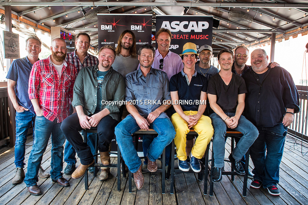 Blake Shelton #1 Party at Losers on September 24, 2015, in Nashville, TN. Pictured: (L-R) BMI songwriter Tommy Lee James, ASCAP songwriter Brent Anderson, BMI songwriter Wade Kirby, ASCAP songwriter Ryan Hurd, producer Scott Hendrix, BMI songwriters Phil O'Donnell and Andrew Dorff and ASCAP songwriter Mark Irwin. (Front Row) ASCAP songwriter Josh Osborne, BMI affiliate Blake Shelton, ASCAP songwriters JT Harding and Josh Kear.