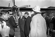 09/08/1967<br /> 08/09/1967<br /> 09 August 1967<br /> His Royal Highness Prince Bernhardt of the Netherlands arrival at Dublin Airport. The prince arrived from Paris on his own private plane to attend the RDS Horse Show in Dublin. Photo shows the Prince being greeted by Mr. Frank Aiken, Minister for External Affairs and The Netherlands Ambassador to Ireland J.I.M. Welsing on his arrival at Dublin Airport. Mrs Wesling closest to camera.