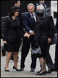 Former Pm's John Major and Tony Blair  with their wife's attend Lady Thatcher's funeral at St Paul's Cathedral following her death last week, London, UK, Wednesday 17 April, 2013, Photo by: Andrew Parsons / i-Images