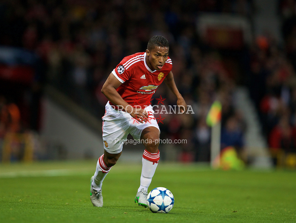 MANCHESTER, ENGLAND - Wednesday, September 30, 2015: Manchester United's Antonio Valencia in action against VfL Wolfsburg during the UEFA Champions League Group B match at Old Trafford. (Pic by David Rawcliffe/Propaganda)