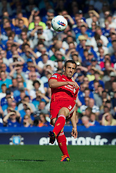 LIVERPOOL, ENGLAND - Saturday, October 1, 2011: Liverpool's Jose Enrique in action against Everton during the Premiership match at Goodison Park. (Pic by David Rawcliffe/Propaganda)