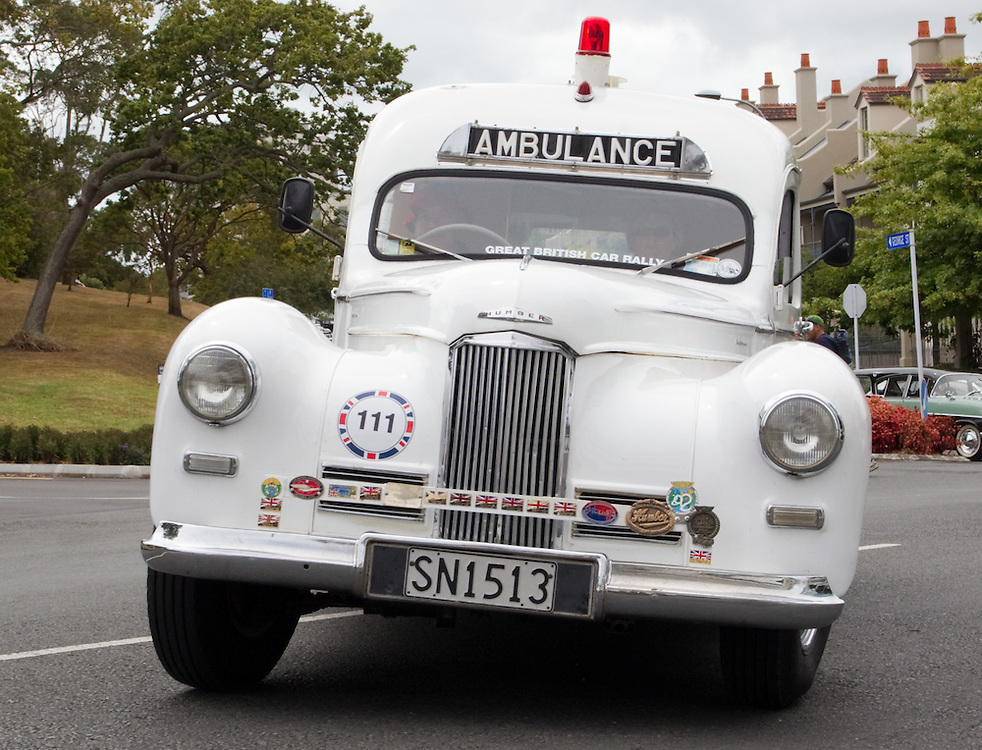 A 1949 Humber Ambulance MkII in the Great British Car Rally with over 210 classic and modern cars and their drivers departing Auckland Domain at the start of their week long journey to Christchurch raising money for charity lead by British High Commissioner Vicki Treadell who is driving a classic Jaguar, Auckland, New Zealand, Sunday, February 17, 2013.   Credit: SNPA / David Rowland