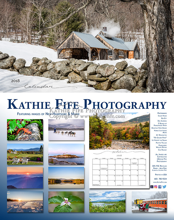 2018 Kathie Fife Photography Calendar<br /> 11x14 printed in the USA on 30% Recycled Fine Art Matte Paper<br /> <br /> Featuring images of Dog Sledding, Squam Lake Ice Harvest, Sugar House in Ashland, Red Eft, Painted Trillium, Sunrise from Mt Washington, Pondicherry Wildlife Refuge, The Nubble Lighthouse in Maine, Mountain View Grand Hotel, E Branch of the Pemigewasset River, On Gold Pond Squam Lake, Cog Railway.