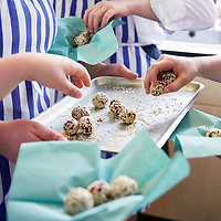 A photograph of home made energy snacks created by pupils in a food technology class at school