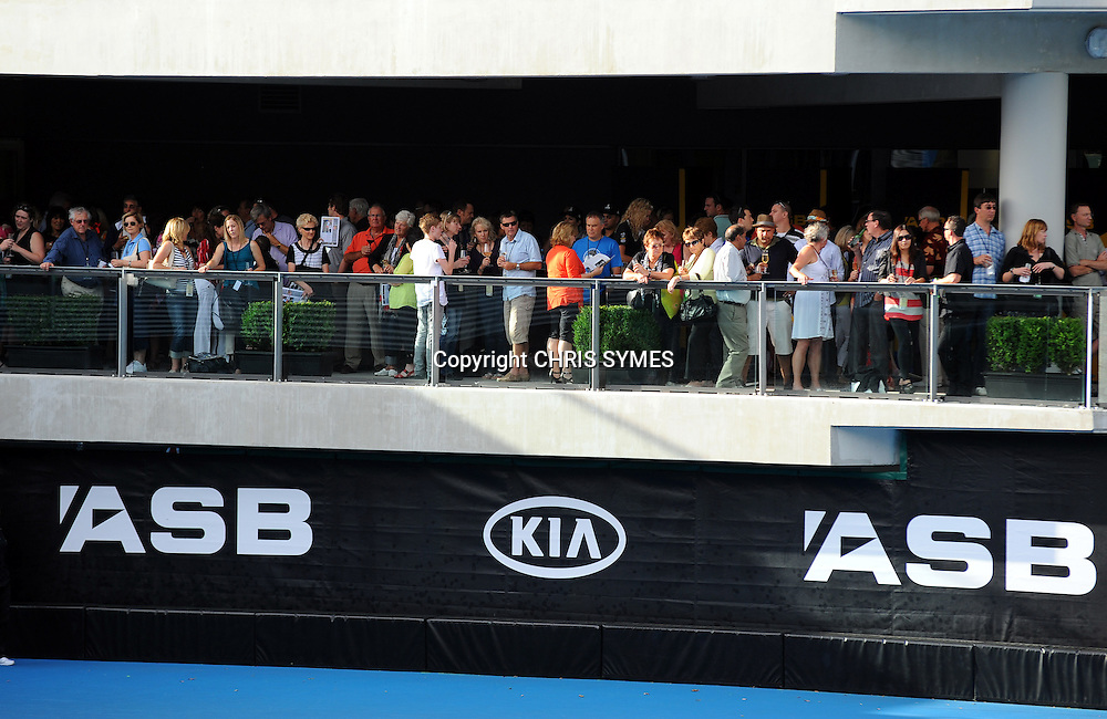 Fans watch the action during the ASB Tennis Classic Day 2, ASB Tennis Centre, Auckland, New Zealand. Tuesday 3 January, 2012. Photo: Chris Symes/www.photosport.co.nz