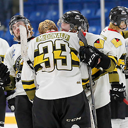 TRENTON, ON  - MAY 5,  2017: Canadian Junior Hockey League, Central Canadian Jr. &quot;A&quot; Championship. The Dudley Hewitt Cup. Game 7 between The Georgetown Raiders and The Powassan Voodoos. Nate McDonald #33 of the Powassan Voodoos  <br /> (Photo by Amy Deroche / OJHL Images)