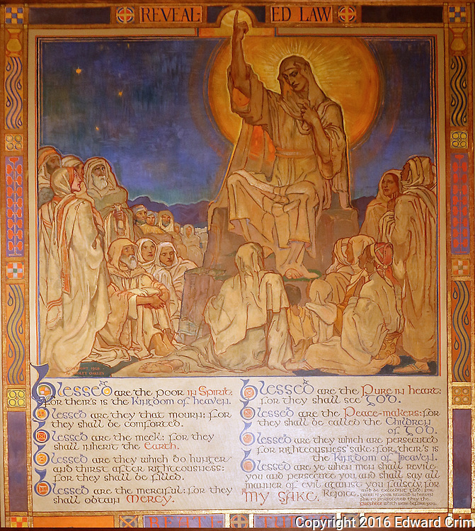 """Violet Oakley's painting  """"Beatitudes"""" in the Supreme Court chamber of the Pennsylvania capitol in Harrisburg."""
