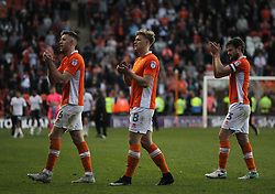 Will Aimson (L), Brad Potts and Andy Taylor of Blackpool applaud the fans at the final whistle - Mandatory by-line: Jack Phillips/JMP - 14/05/2017 - FOOTBALL - Bloomfield Road - Blackpool, England - Blackpool v Luton Town - Football League 2 Play-off Semi Final Leg 1