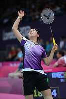 Bae Yeon-Ju, Korea, during her first round match against Tee Jing Yi of Malaysia. OLympic Badminton London Wembley 2012