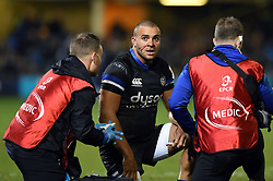 Jonathan Joseph of Bath Rugby receives treatment from physios - Mandatory byline: Patrick Khachfe/JMP - 07966 386802 - 06/12/2019 - RUGBY UNION - The Recreation Ground - Bath, England - Bath Rugby v Clermont Auvergne - Heineken Champions Cup