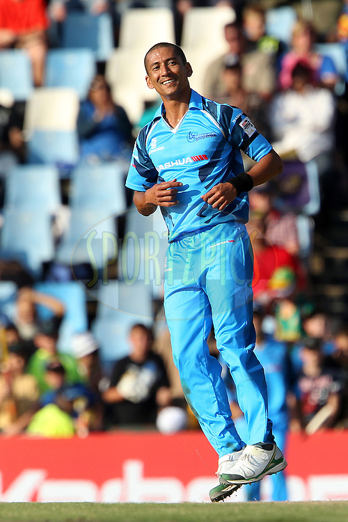 Alfonso Thomas reacts after bowling during match 1 of the Karbonn Smart CLT20 South Africa between The Titans and The Perth Scorchers held at Supersport Park Stadium in Centurion, South Africa on the 13th October 2012..Photo by Ron Gaunt/SPORTZPICS/CLT20