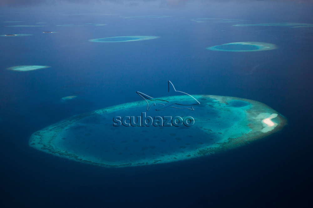 Aerial view of sandbank and lagoon in North Male Atoll, Maldives.