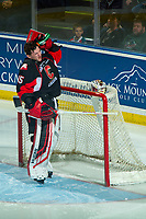 KELOWNA, CANADA - JANUARY 4: Taylor Gauthier #35 of the Prince George Cougars stands in net at the start of the game against the Kelowna Rockets on January 4, 2019 at Prospera Place in Kelowna, British Columbia, Canada.  (Photo by Marissa Baecker/Shoot the Breeze)