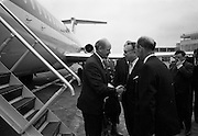 26/07/1967<br /> 07/26/1967<br /> 26 July 1967<br /> Taoiseach departs Dublin Airport for talks in Brussels. Taoiseach Jack Lynch left for Brussels where he would hold talks with regard to Ireland's application for membership of the Common Market accompanied by Mr. Hugh McCann, Secretary, Department of External Affairs. Picture shows the Taoiseach shaking hands with Dr. Francis-Leo Goffert, Belgian Ambassador to Ireland. Also in the picture is Mr. M.J. Dorgan (extreme right), general Manager, Aer Lingus.
