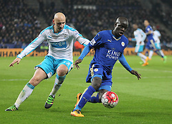 Jonjo Shelvey of Newcastle United (L) and Ngolo Kante of Leicester City in action - Mandatory byline: Jack Phillips/JMP - 14/03/2016 - FOOTBALL - King Power Stadium - Leicester, England - Leicester City v Newcastle United - Barclays Premier League