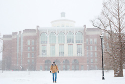 """A University of Kentucky student trudges through the snow on Wednesday, January, 20, 2016. 1""""-2"""" inches fell overnight and into the morning but didn't cancel class."""