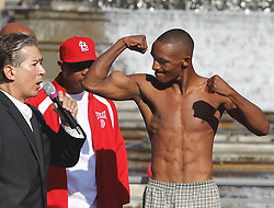 August 6, 2010; St. Louis, MO; USA; Devon Alexander weighs-in for his upcoming bout against Andriy Kotelnik at the Scotttrade Center in St. Louis, MO.