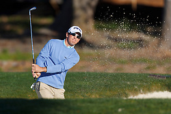 Feb 8, 2012; Pebble Beach CA, USA; Scott Langley hits a shot out of a bunker on the second hole during the practice round of the AT&T Pebble Beach Pro-Am at Pebble Beach Golf Links. Mandatory Credit: Jason O. Watson-US PRESSWIRE