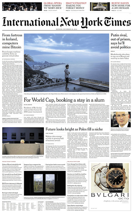 """Tearsheet of front page of """"Ireland razes ghosts of the housing crash"""" published in the International New York Times"""