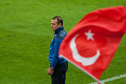 24.05.2012, Red Bull Arena, Salzburg, AUT, SLFC Summerleague, Tuerkei vs Georgien, im Bild Abdullah Avci, (TUR, Chef-Trainer) vor einer wehenden Tuerkischen Nationalflagge // Abdullah Avci, (TUR, Chef-Trainer) in front of a waving turkish flag during friendly Football Match between the Nationateams of Turkey and Georgia at the Red Bull Arena, Salzburg, Austria on 2012/05/24. EXPA Pictures © 2012, PhotoCredit: EXPA/ Juergen Feichter