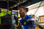 Forest Green Rovers Scott Laird(3) has his face scanned for FIFA 18 during the Forest Green Rovers Photocall at the New Lawn, Forest Green, United Kingdom on 31 July 2017. Photo by Shane Healey.