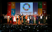 Speakers at the opening ceremony celebrate the adoption of the new Sustainable Development Goals during the 6th Annual Social Good Summit on Sunday, September 27, 2015 in New York. An initiative of United Nations Foundation, Mashable, United Nations Development Programme and the 92nd Street Y, the Social Good Summit explores how technology and new media can be leveraged to address global issues. (Stuart Ramson/AP Images for UN Foundation)