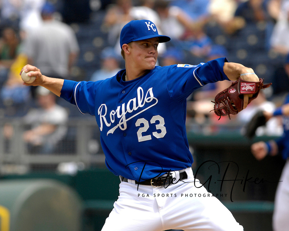 June 10, 2007 - Kansas City, MO..Kansas City Royals pitcher Zack Greinke pitched two shutout innings in relief to get the win against the Philadelphia Phillies at Kauffman Stadium in Kansas City, Missouri on June 10, 2007...MLB:  The Royals defeated the Phillies 17-5.  .Photo by Peter G. Aiken/Cal Sport Media