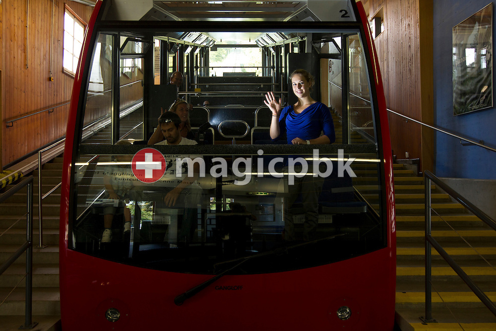 Artistic gymnastics athlete Giulia STEINGRUBER of Switzerland poses inside a cable car of the 'Seilbahn-Funiculair Magglingen Macolin' in Biel, Switzerland, Monday, Aug. 29, 2011. (Photo by Patrick B. Kraemer / MAGICPBK)