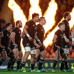 The All Blacks perform the haka before the Bledisloe Cup and Rugby Championship rugby match between the New Zealand All Blacks and Australia Wallabies at Eden Park in Auckland, New Zealand on Saturday, 25 August 2018. Photo: Simon Watts / lintottphoto.co.nz