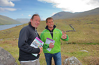Georg Gerharter (rhs)CEO of Bio Landwirtschaft (Organic Agriculture, an Austrian organic farmers organisation)  with organic sheep farmer, James O'Neill(2nd from left) from 12 Bens in Connemara. The group of nearly 40 Austrian farmers were in Ireland this week to see some Irish organic farming as well as giving a few inside tips of the trade from an organically forward nation. The trip was organised by the Irish Cattle and Sheep Farmers' Association (ICSA) as they were keen on an exchange of views with a group of Austria's premier organic farmers. Photo:Andrew Downes