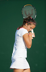 LONDON, ENGLAND - Tuesday, June 30, 2009: Laura Robson (GBR) turns away from a wasp during her Girls' Singles 2nd Round match on day eight of the Wimbledon Lawn Tennis Championships at the All England Lawn Tennis and Croquet Club. (Pic by David Rawcliffe/Propaganda)